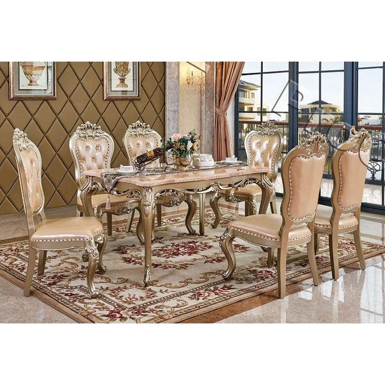 Elegant Home Dining Table High Gloss Wooden Dining Table Set Modern