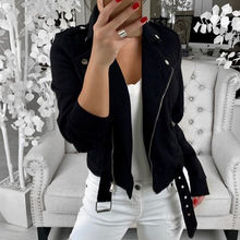 2019 Autumn Women Lapel short Style Cotton Clothing Jacket Coat