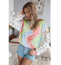 2020 Fashion High Quality Tie Dye Long Hollow Out Sleeve Casual T Shirts Top Blouses For Girls Women