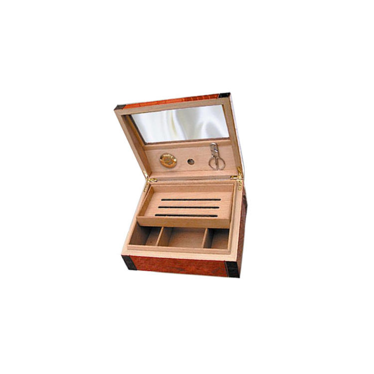 Walnut Lacquer Cigar Display Box Wooden Cigar Humidor With Clear Box