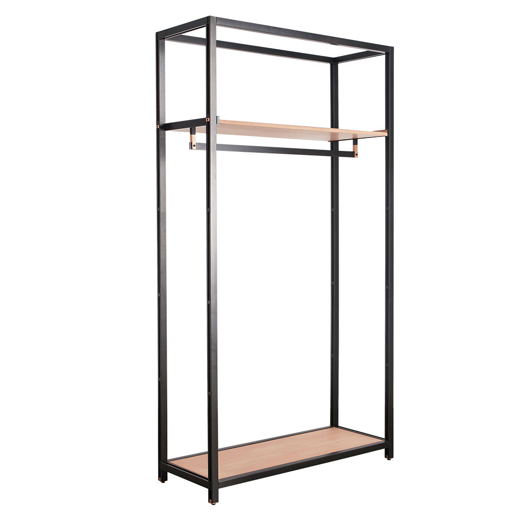 Modern Full Assemble Clothes Rack Metal Solid Wood Shop Shelving Organizer Display Shelving With Hanger Bar