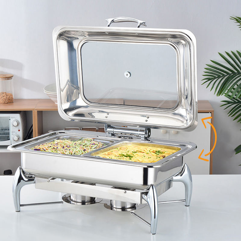 LT-228 party hotel food warmer set stainless steel serving dishes with glass lid for sale