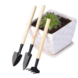 Three Pieces Set Of Garden Tools Wooden Handle Indoor Children Mini Kids Gardening Tool Set