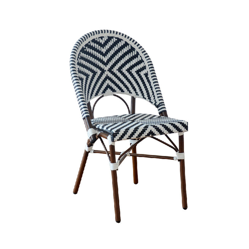 Wholesale Hotel Paris Handmade Stacking Armless French Aluminum Rattan Bamboo Bistro Dining Chairs