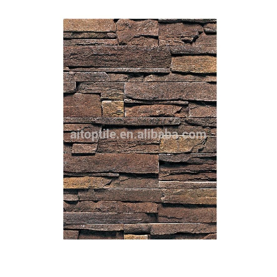 Exterior wall cladding artificial stone slate rock chip design brick tile hot sale