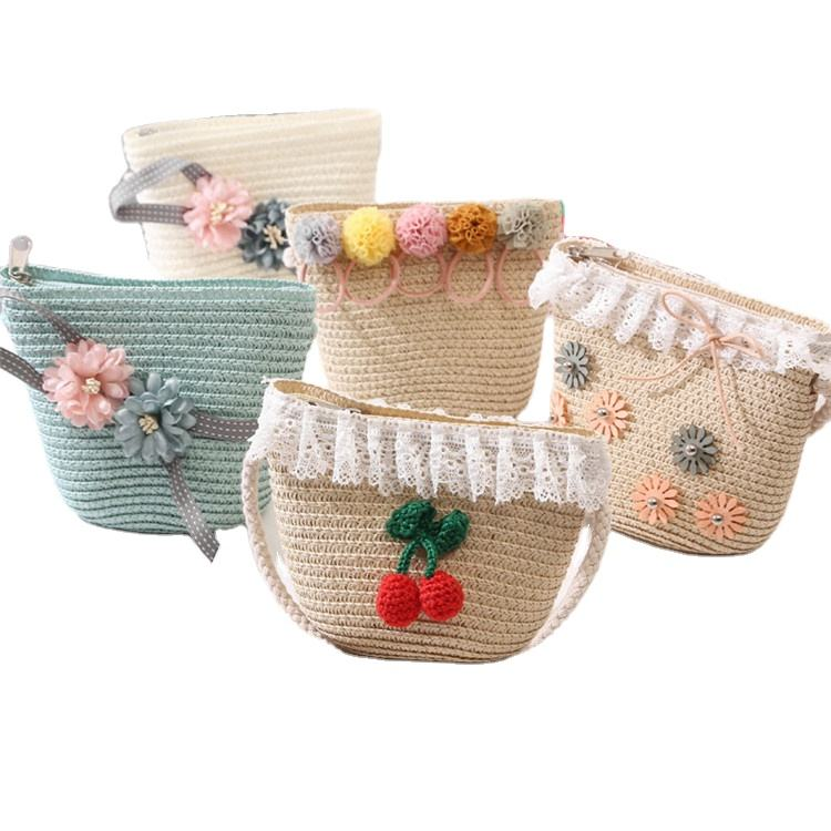 wholesale new type mini children crossbody bags cute kids straw bag kids crossbody bag