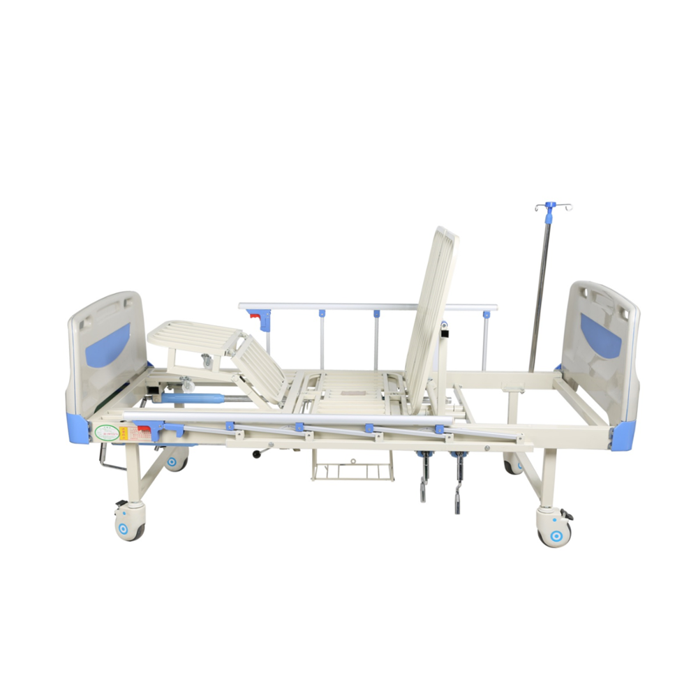 Cheap Nursing Care Bed Semi-bending Multi-Function Foldable Hospital Bed with Arc Headboard