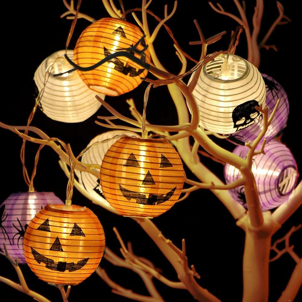 OurWarm Halloween Outdoor Decoration 10 LED 3D Pumpkin Lantern Lights with Hanging String Props For Home Party