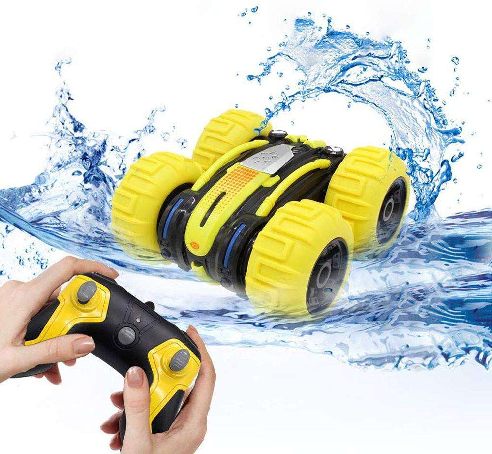 Factory Price 1:24 2.4G 4WD Double Sided Waterproof Amphibious Land Water Stunt Toy 360 Radio Remote Control RC Car for Kids