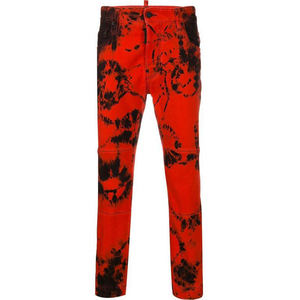 Customized Denim Trousers Trendy cool men's red tie-dye jeans