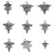 Mixed 90pcs Antique Silver Plated Medical Caduceus Np Da Ma Np Pa Rn Bsn Dh Lvn Nurse Doctor Themed Collection Charms