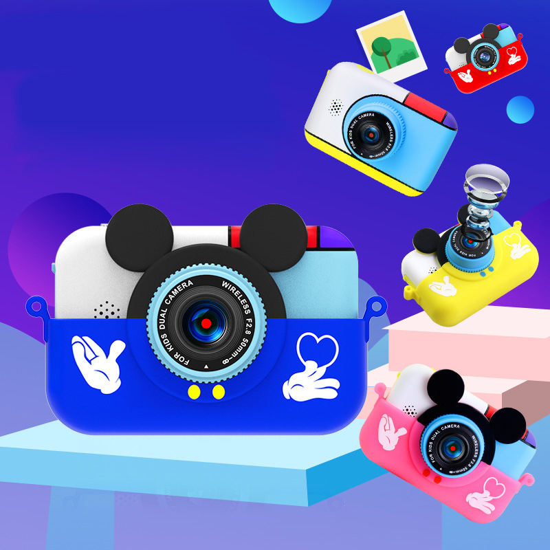 Toy Camara Recording Function Mini Red Pink Yellow Cartoon Mickey Mouse 1080P HD Kids Camera For Children