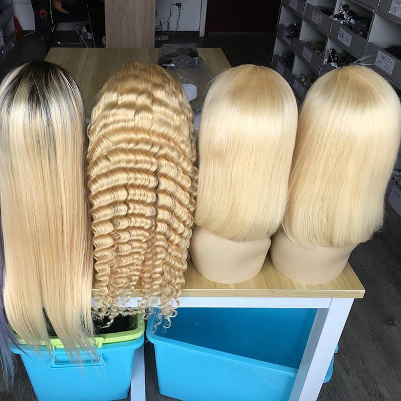 hd bob virgin hair wigs blonde 613 lace front wig,613 full lace wig human hair 180 density,honey blonde human hair full lace wig