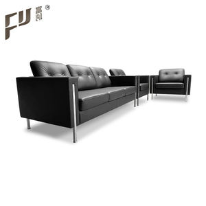 Black Minimalist Style 3 Seater Reception Office Leather Sofa