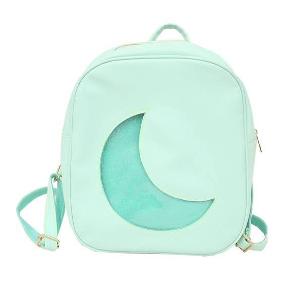 Custom Fashion Vagan Leather Moon Shape Transparent Glitter PVC Pins Display Clear Window Painful Ita Bag Backpack 2019
