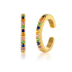 925 Sterling Silver Ear Cuff Non Pierced Earring Women Girls Rainbow CZ Pave Clip on Earrings Colored Crystal Ear Cuffs