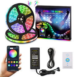 SMD5050 flexible led strip 16.4ft 300leds smart phone controlled music sync light kit waterproof rgb led strip light
