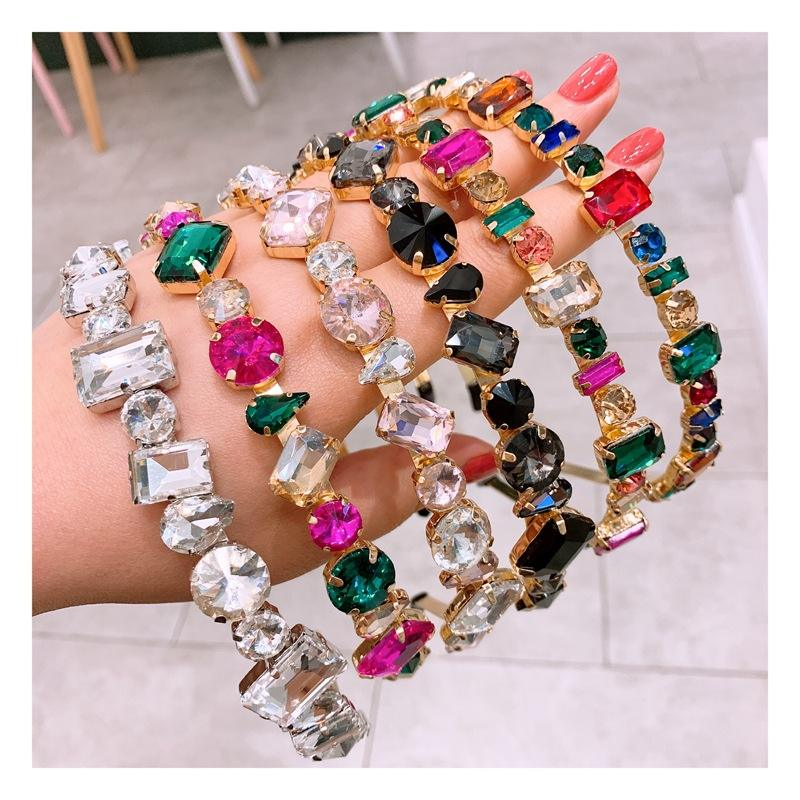 Wholesale Baroque Ladies hair band accessories boho luxury jewelled crystal gemstone embellished bling headband for women