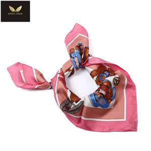 Italienischen hersteller bunte rosa/gelb/blau/grau bär seide schal für mädchen und frauen