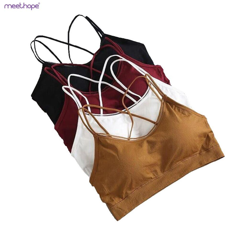 Girls Seamless Sports Wrapped Chest Nursing Vest Bra With Pad Double Strap women Bra