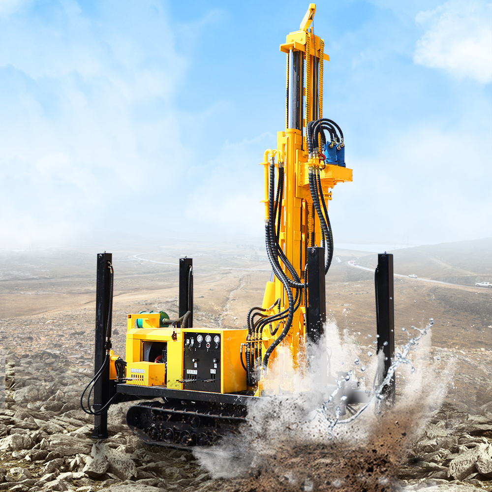Hengwang HQZ-220 200m crawler type deep rock borehole water well drilling rig machine price