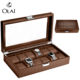 Wholesale 2 3 6 10 12 20 24 slot Brown Wooden Watch Packaging Box,Custom Color WoodenWatch Storage Display Box Case