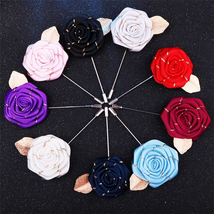 Factory Direct Sale Men's Suit Golden Leaves Rose Brooch Collar Flower Long Needle Brooch Pins