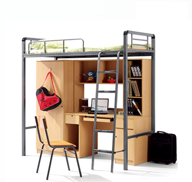 Bunk Bed Suppliers Steel Frame Metal Dormitory Bedroom Furniture Kids Bunk Beds School Dormitory Bed With Table For Kid With Storage And Curtainers
