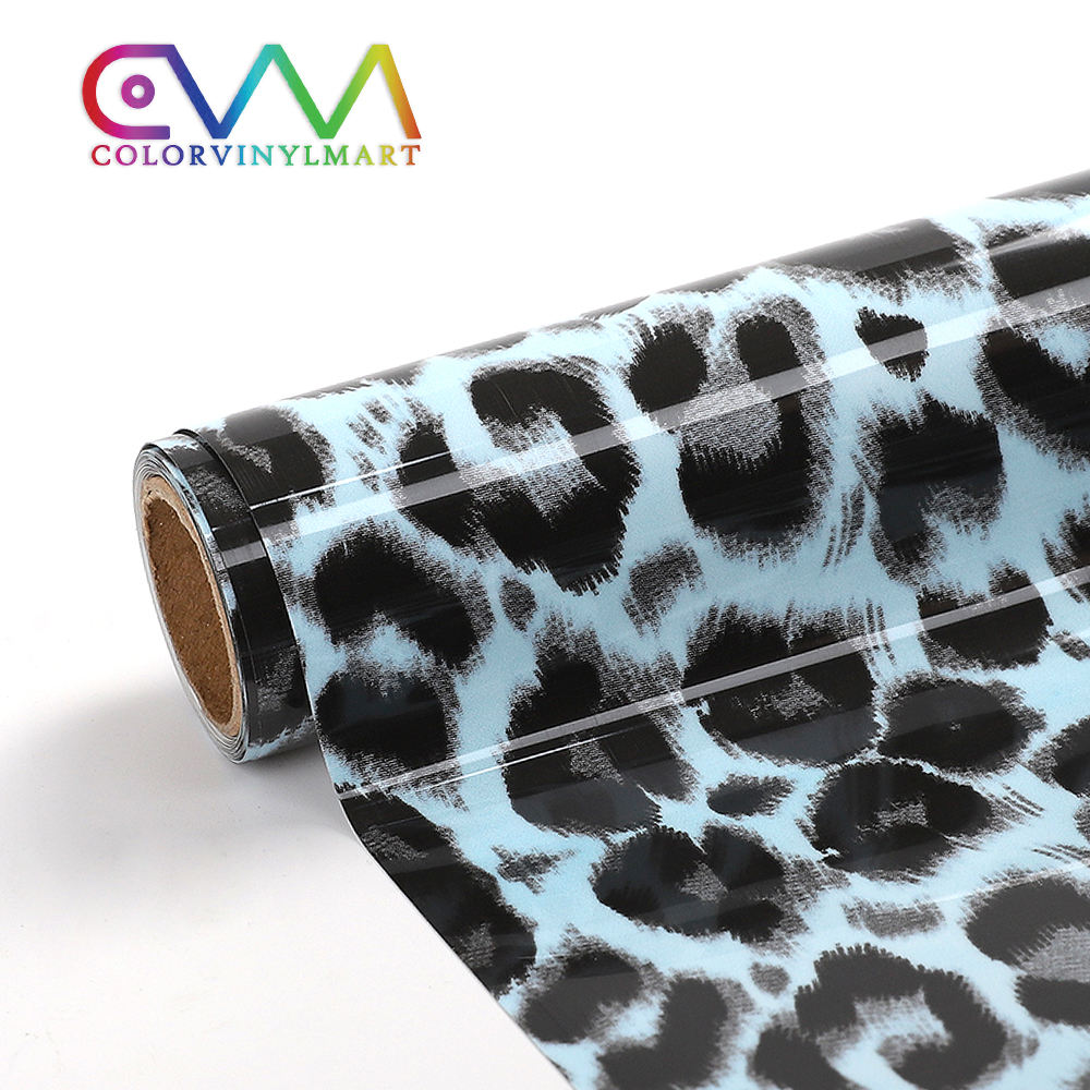 New Product Hot Sale Htv Pvc Leather Leopard Black Blue Heat Transfer Film Rolls Vinyl For Textile Fabric Tshirt