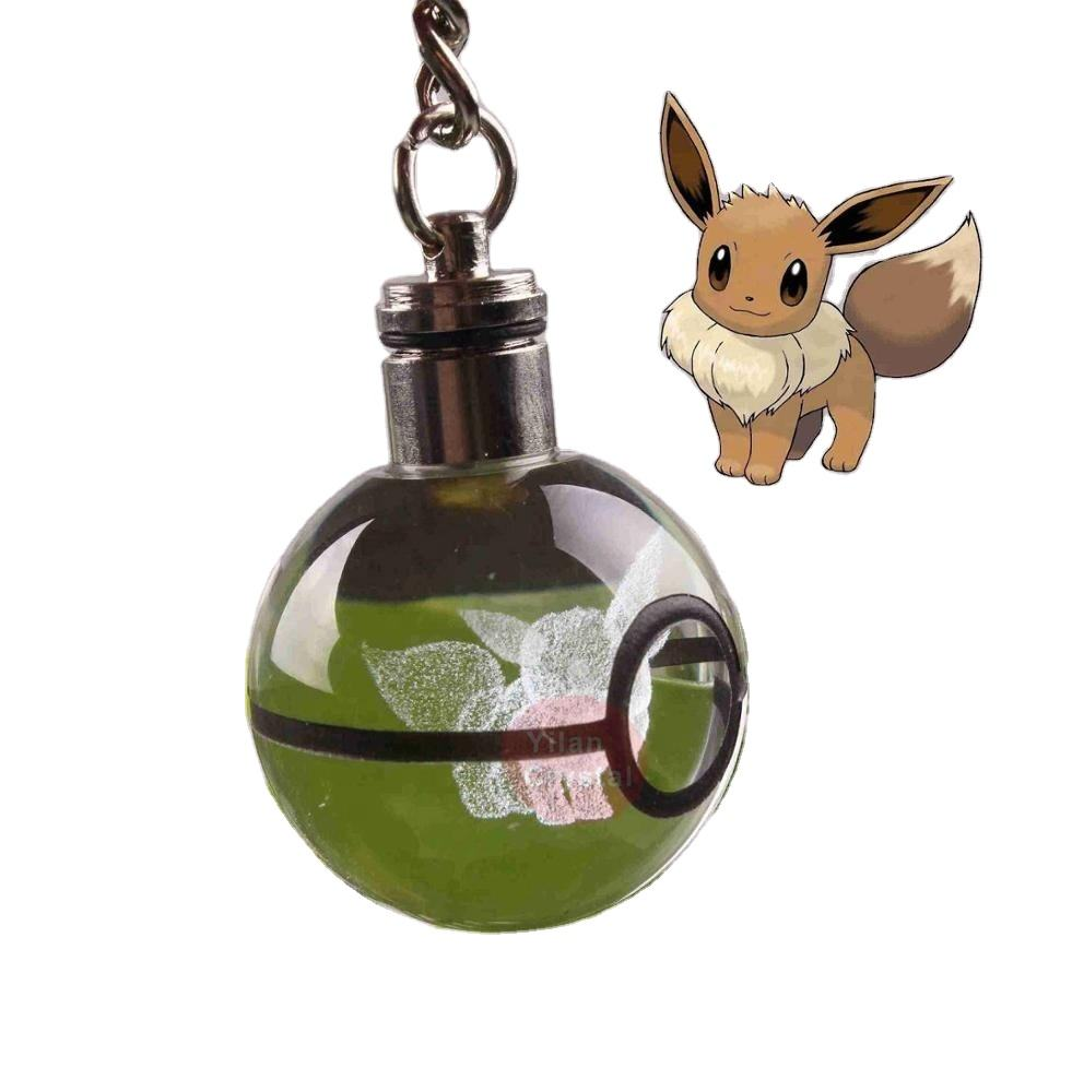 Wholesale 30mm New Design Crystal Pokemon Ball Eevee Keychain