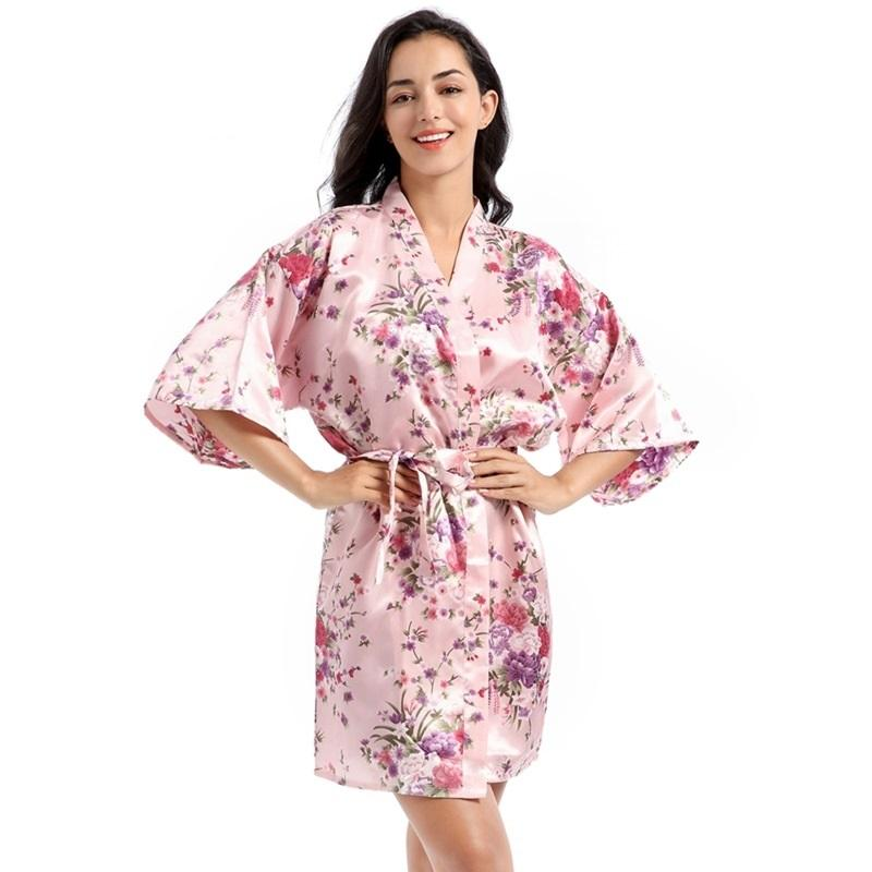 Women Floral Satin Robe Bridal Dressing Gown Wedding Bride Bridesmaid Kimono Sleepwear