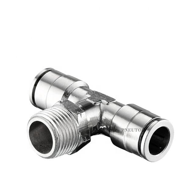 Mall tee Push in brass air fitting metal pneumatic fitting Pneumatic nickel-plated brass push in connect air hose equal union on