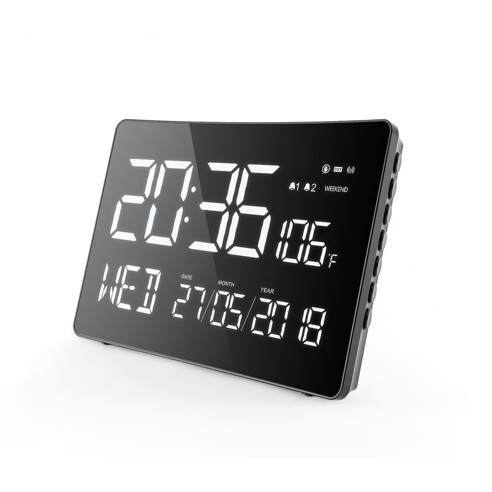 Large Digital Wall Clock with Big Time Display with Temperature and Humidity Jumbo Clock Wall for Office Time Zone