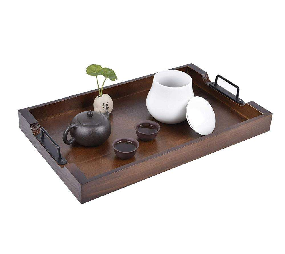Large Black Serving Tray with Handles Set of 2 by East World Serving Tray WITH EXTRA Ottoman Tray Coffee Table Solid Pine Wood