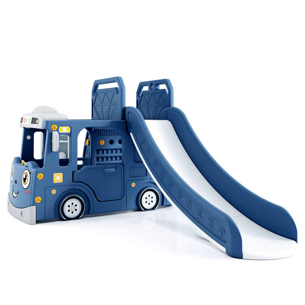 New Bus Theme cheap and good quality family use indoor slide with swing