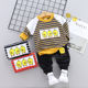 Autumn boy little yellow duck striped round collar T-shirt 4-year-old boy's clothes boy's two-piece suit
