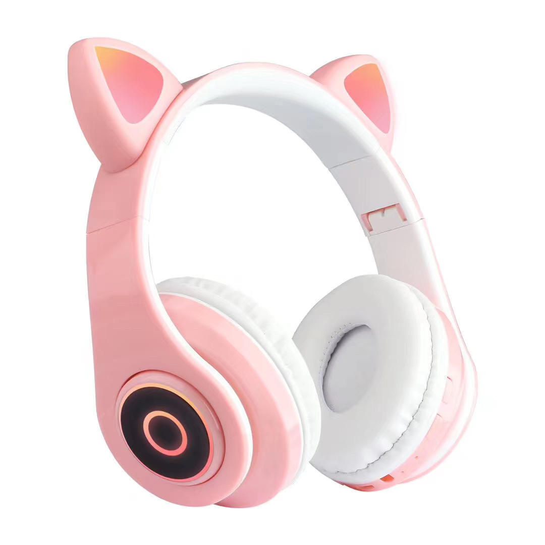 Fashion earphone wifi Stereo Wireless earphone headphones with led, cat ear cute gaming headphone for girls earphone headphones