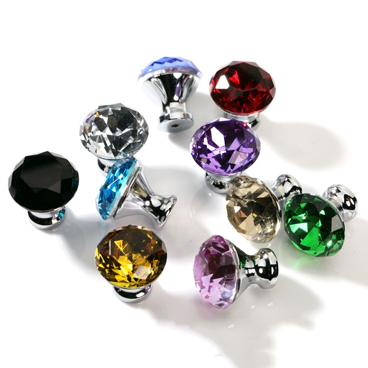 Colorful Small Crystal Cabinet Knobs Jewelry Box Knobs crystal handle