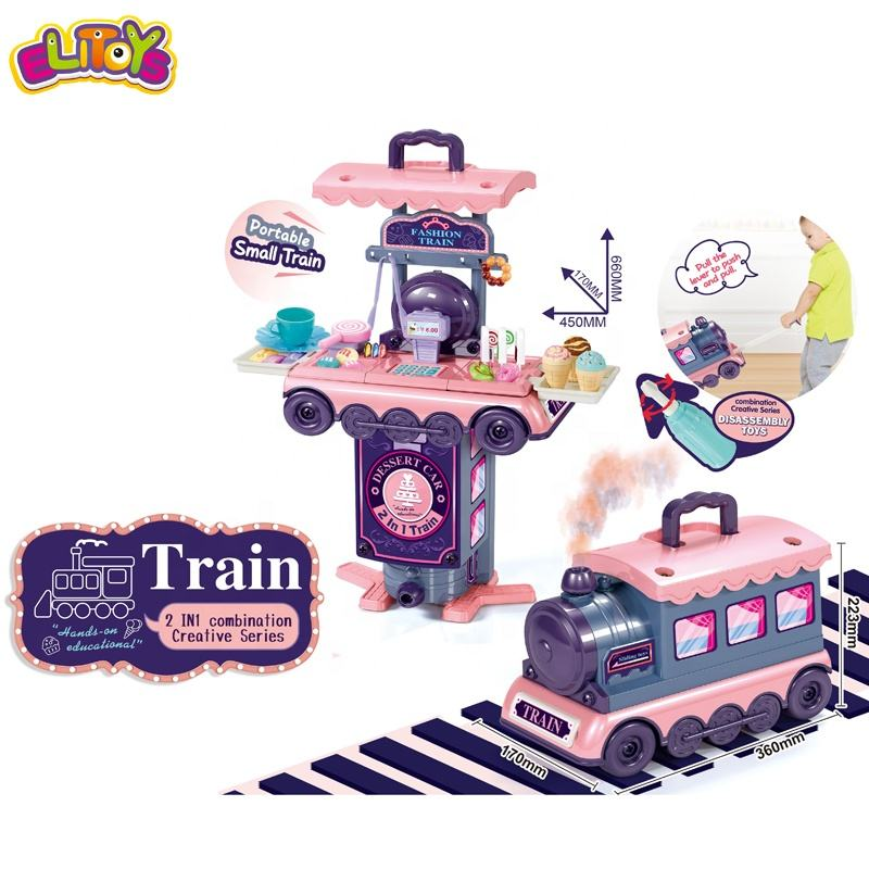 Disassembly And Assembly 2 in 1 Train Plastic Candy Dessert ice Cream Toy Girls Pretend Play House Set Toy