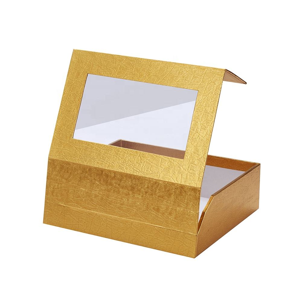Golden Paper Rigid Cardboard Packaging Custom Logo Clear Cover Lid Food Grade Homemade Chocolates Gift Boxes