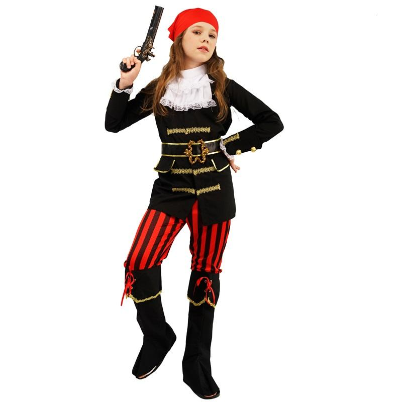 Top Selling Girl's Noble Pirate Costumes Halloween Party Carnival Cosplay Pirate Costumes For Kids