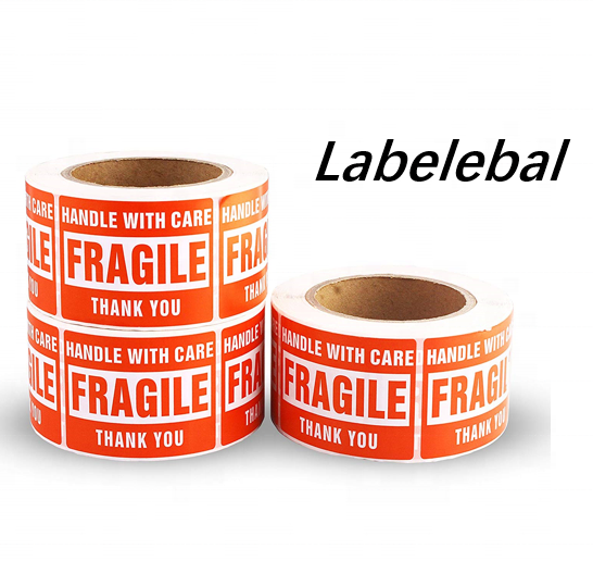 "Labelebal 3"" x 2"" Fragile label Handle with Care Warning Shipping Labels - Permanent Adhesive"