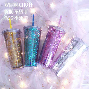 Double Wall Plastic Straw Tumbler Cups Wholesale, Cold Drink Water 20 oz Reusable Acrylic Glitter Tumbler Cups With Straw