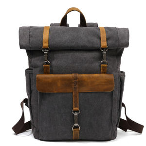 In Stocks Outdoor canvas roll top backpack cycling backpack bike bags vintage canvas backpack