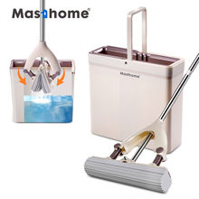 Masthome Novel roller head sponge water squeeze flat floor easy cleaning PVA mop and bucket set for kitchen bedroom cleaning