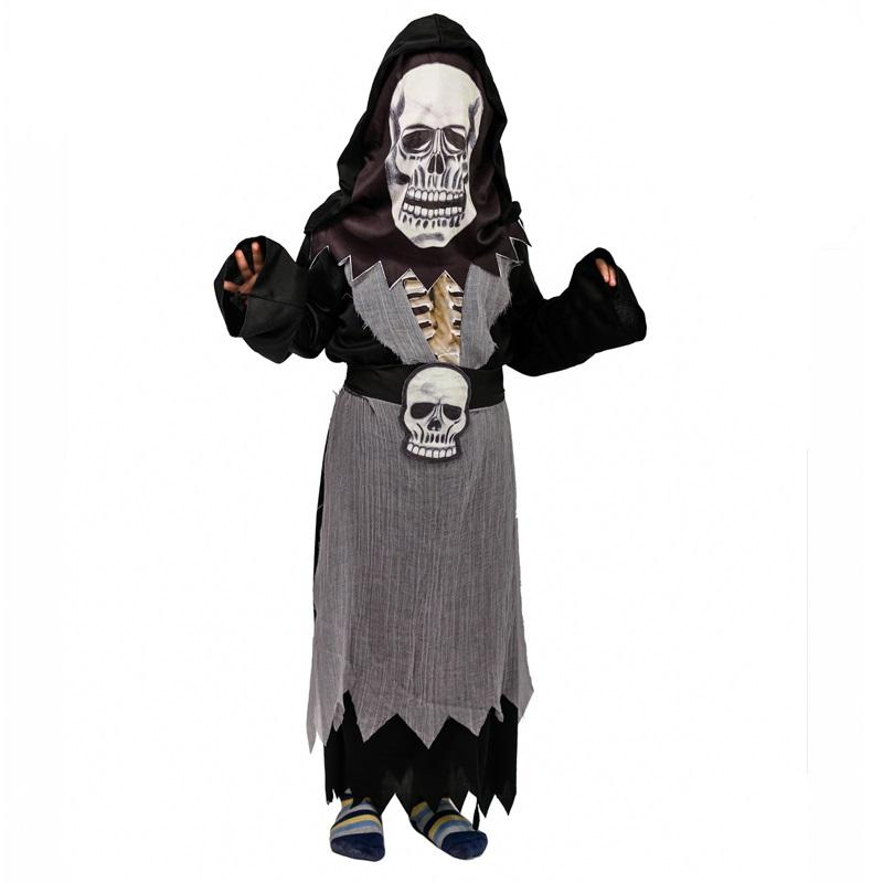 Halloween Boy's Skeleton Ghost Costume With Printed Hood Carnival Cosplay Horror Ghost Costumes