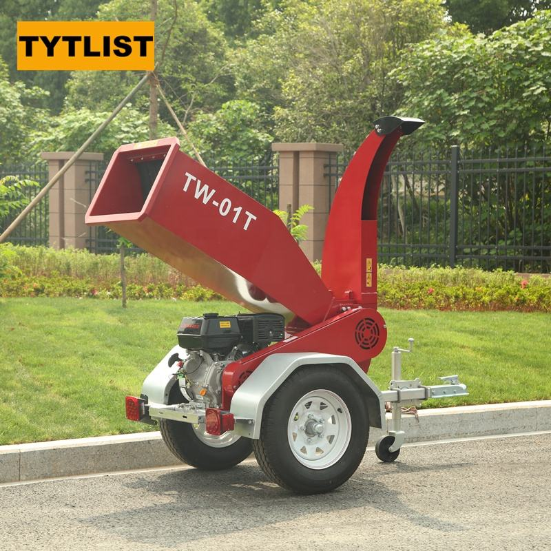gasoline wood chipper shredder machine with trailer