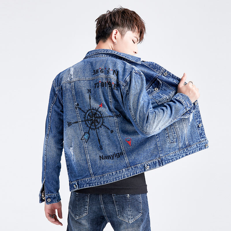 Fancy stylish High Quality Wholesale custom fashion men casual jean denim jacket men with embroidery