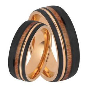 Black rose gold tungsten carbide wedding bands koa wood tungsten rings