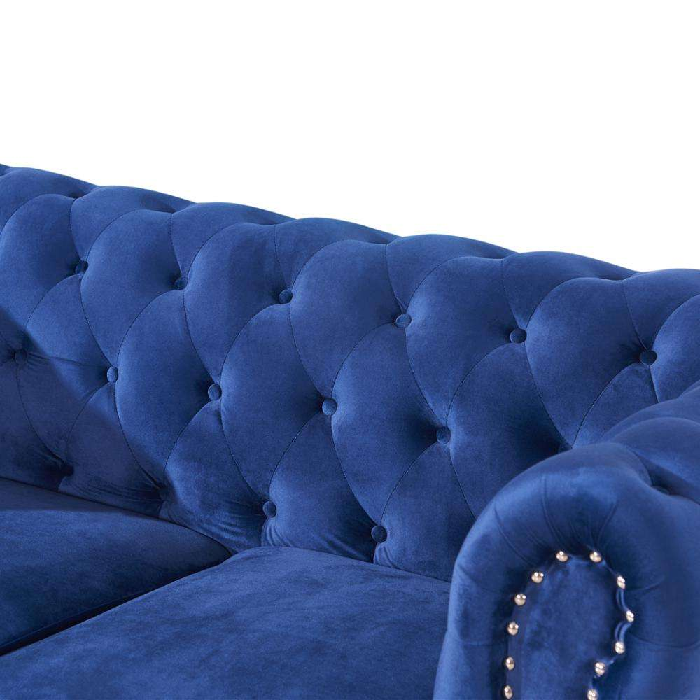 european style luxury chesterfield blue velvet tufted button sofas